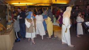 The Bethlehem Marketplace is a busy spot before Christmas