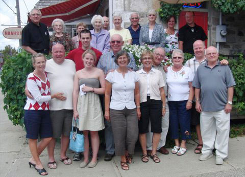 Members of the Riemer, Feick and Holm families gathered in Neustadt last summer to celebrate their renewed family connection. From left: front, Laura Feick, Paul Feick, Johanna Feick, Heidi Reimer, Mary Gray, Don Gray, Audrey Miller, Murray Feick, Kenneth Feick; centre Joseph Samson, Peter Reimer (Germany); back, Rev. Richard Holm, Mrs. Vera Winfield, Mrs. Frieda Holm, Ken Winfield, Anne Saunders, Martin Bender, Connie Bender, Sabine Buenger, Marcel Reimer.
