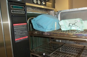 Equipment then enters the autoclave for sterilization.