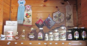Maple Syrup display shelf at Riverside Maples