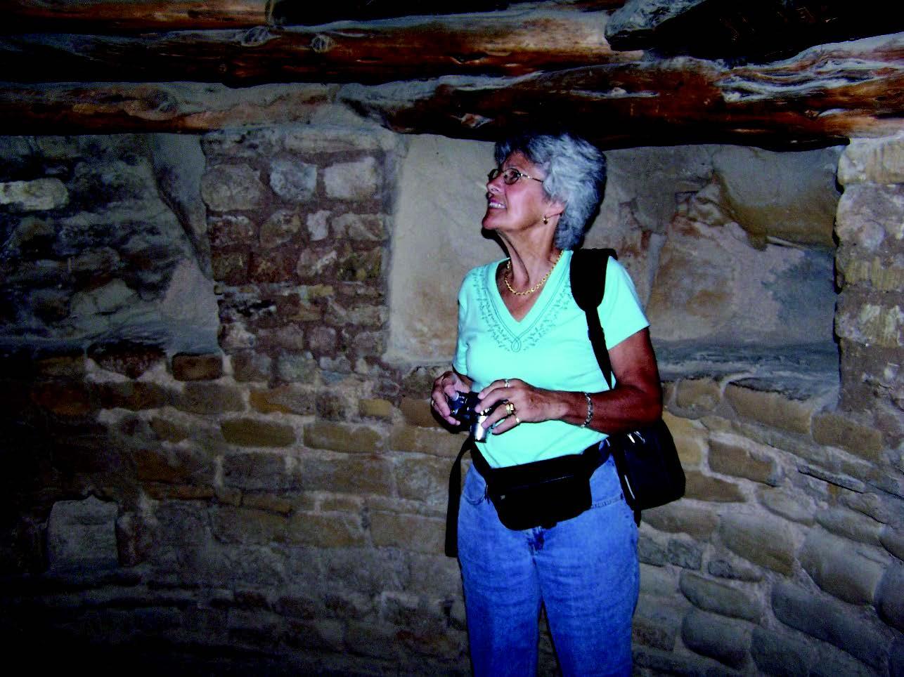 Willa Wick is shown studying the underground Kiva Annette Tilden photo