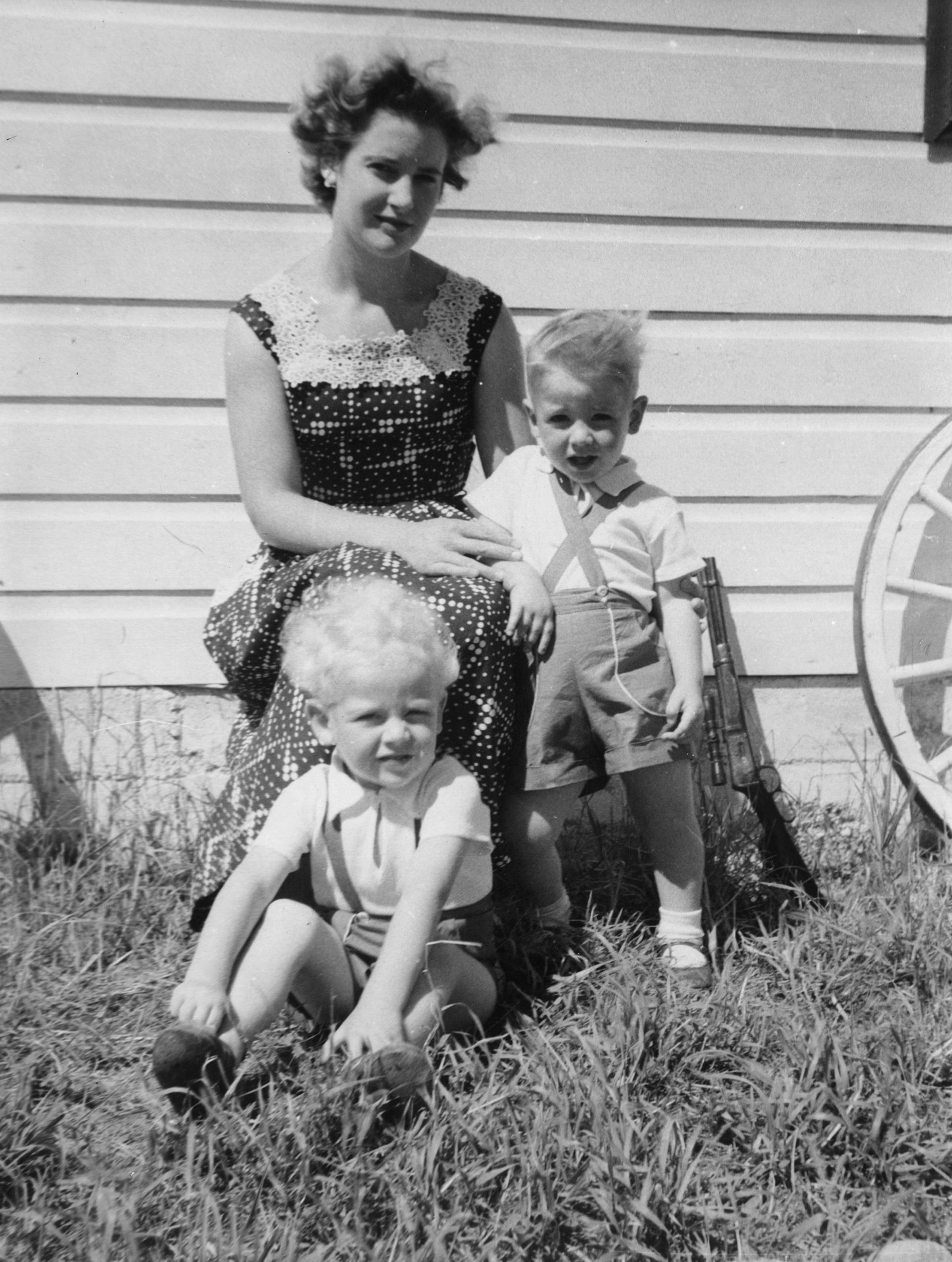 Carole Naylor with sons, Lee, left, and Grahame, who were three and two respectively when this photo was taken outside their Owen Sound area home in 1957.