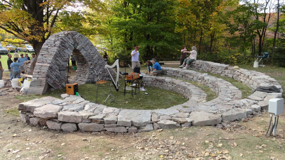 A completed amphitheatre ready for a live concert.