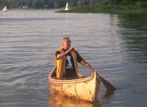 Labelle on the water in one of his handmade crafts. Photo courtesy Marcel Labelle