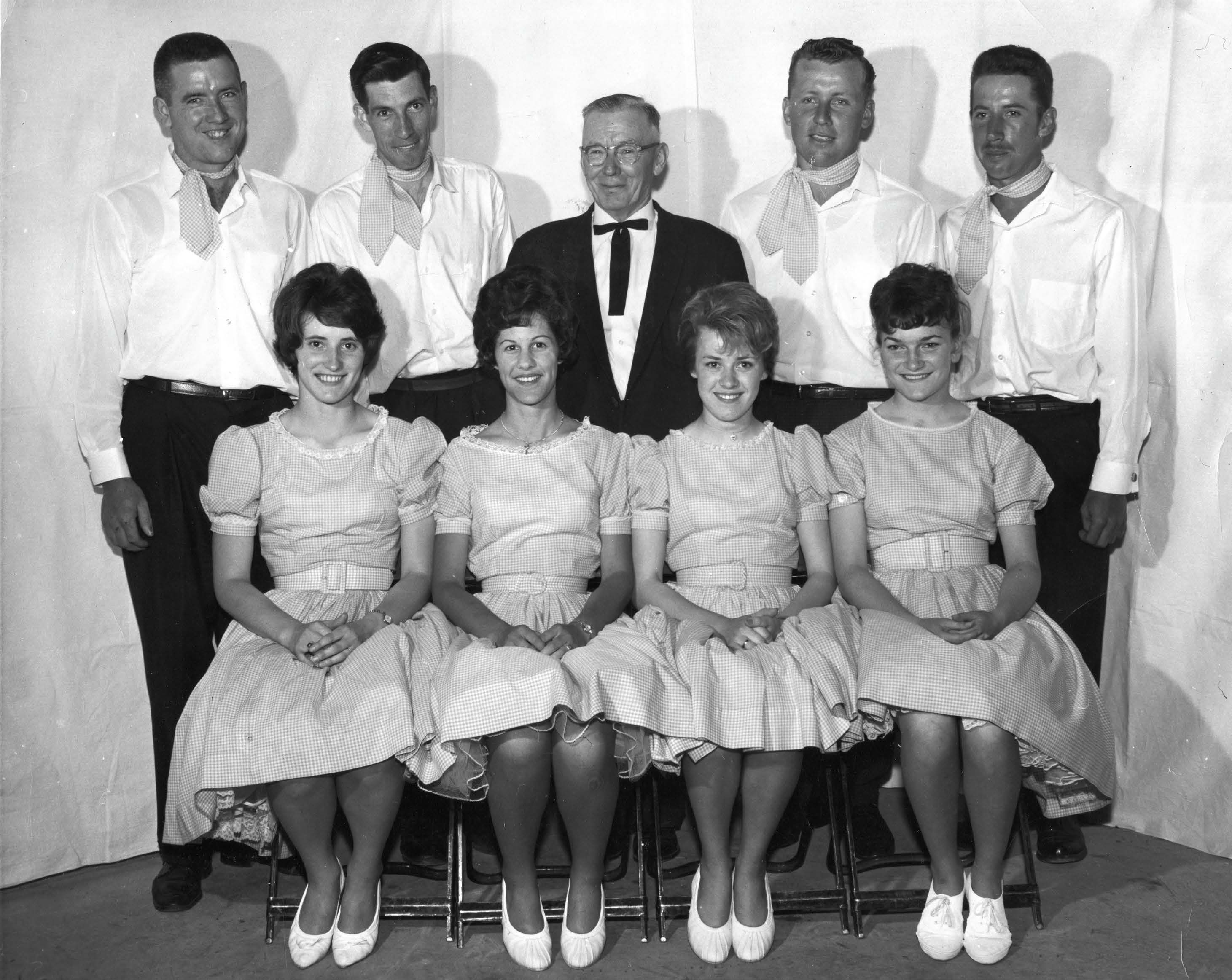 1963 Wellington County Jr. Farmer winners:  top from left:  Eugene Kelly, Don Patterson, Jimmy Leybourne, Everitt Bridge, Warren Ross.  Bottom from Left:  Julie (Weber) McCague, Willa (Tilden) Wick, Inez (Noble) Reed, Patti (Boyne) Nickel.
