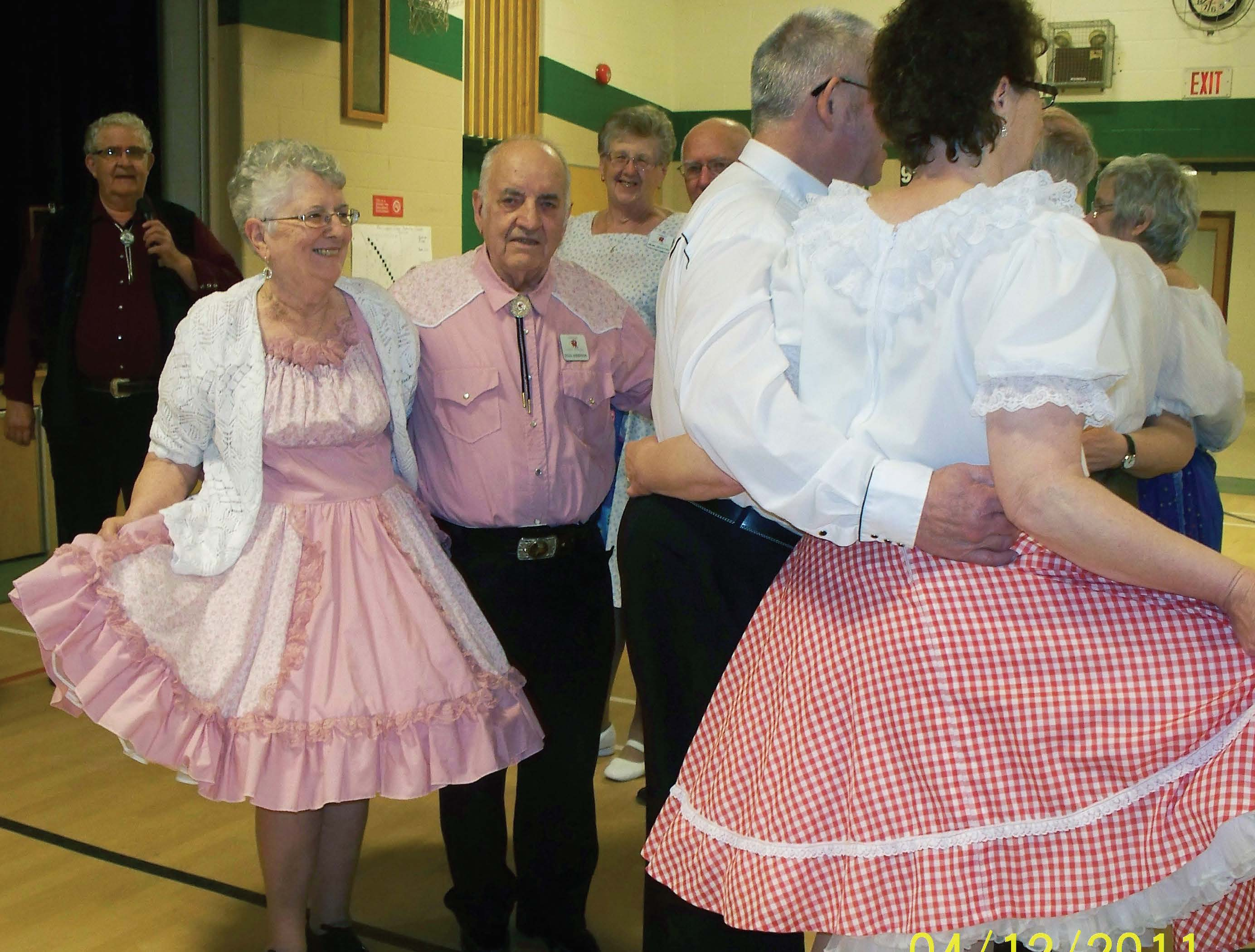 Doug and Dorelene Anderson, pictured at left, of the Hanover Happy Twirlers have taught square dancing to newcomers to the activity for more than 20 years.