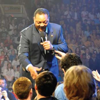 US civil rights leader Rev. Jesse Jackson greets students at We Day. Photo courtesy Minto Clifford Public School