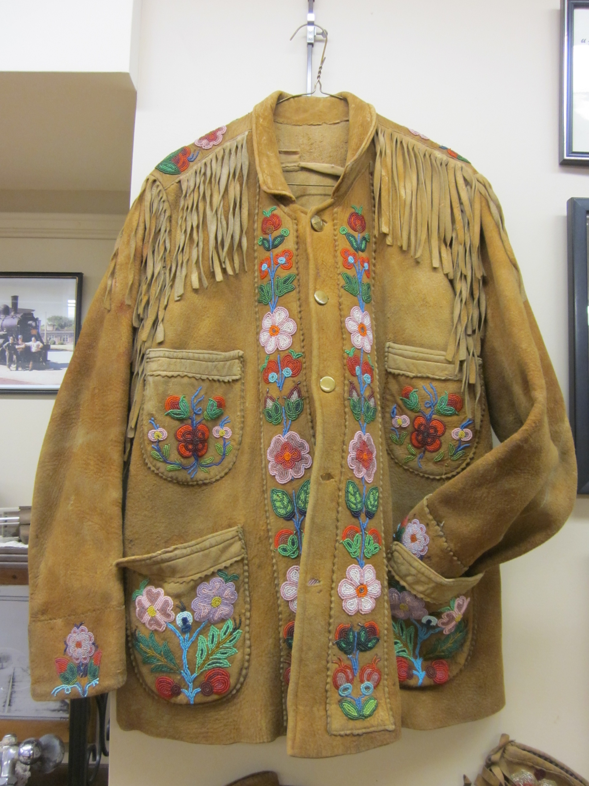 Levi Wesley's beaded leather jacket currently on display with the Harriston Historical Society (Willa Wick photo)