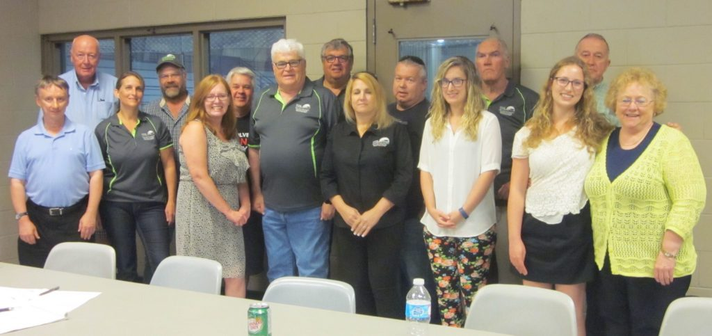 2016 Plowing Match Executive: (Back row from left) Ross Wilkie, Keith Clyne, Ray Tout, Ron Faulkner, Bill White, George Robinson, Don Priest. (Front) Gord Duff, Jamie Halzle, Annilene McRobb, Walter Trachsel, Teri White, Callise Foerter, Valerie Hruska, Cathy Lasby.